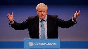 Boris Johnson giving closing speech at the Conservative Party conference in Manchester, 2 October 2019