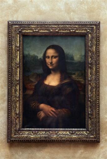 រូបគំនូរ Mona Lisa ឬ  «la Joconde» ដ៏ល្បីល្បាញរបស់លោក Léonard de Vinci នៅសារៈមន្ទីរ Louvre ក្រុងប៉ារីស