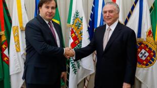Michel Termer com o presidente da Câmara dos Deputados, Rodrigo Maia (18/09/17).