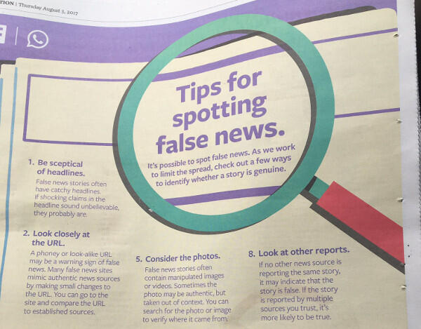 Newspaper advert by Facebook provides tips on spotting fake news, 3 August 2017.
