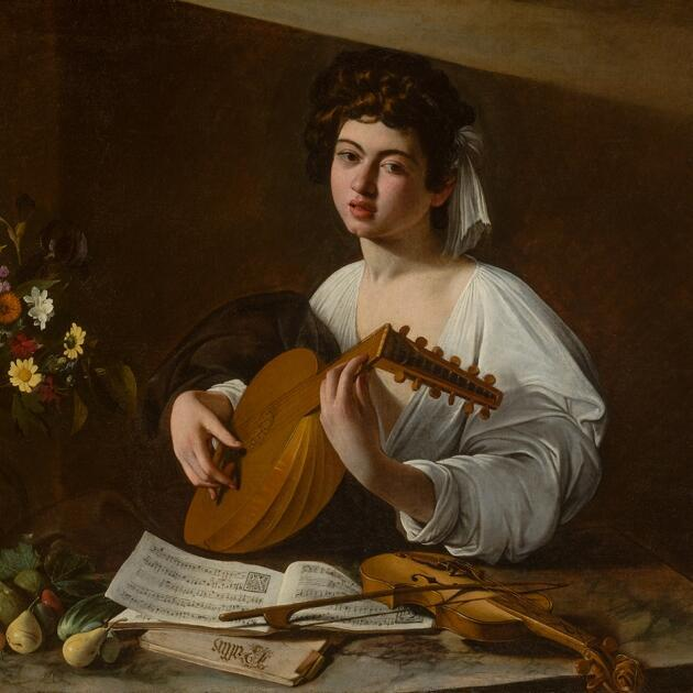 """""""The lute player"""" by Caravaggio at the Jacquemart André Museum in Paris."""