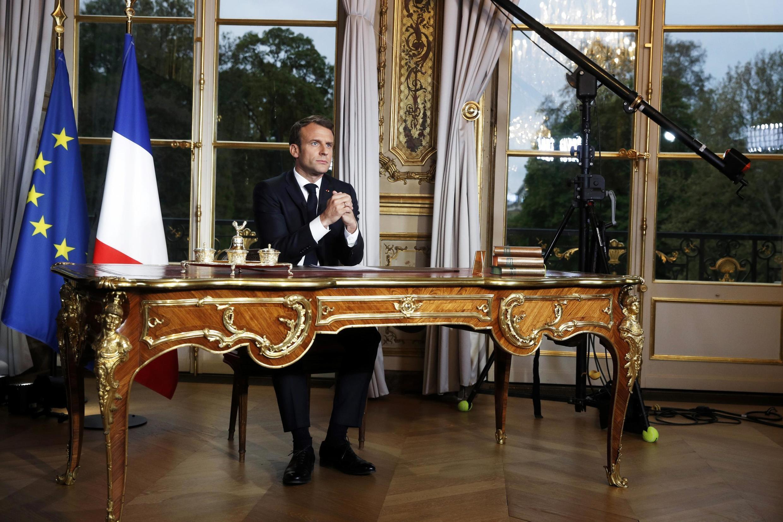 Tổng thống Pháp Emmanuel Macron gởi thông điệp truyền hình đến toàn dân ngày 12/3/2020.