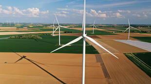 An aerial view of power-generating turbines in a wind farm in Graincourt-les-Havrincourt, France, April 27, 2020.