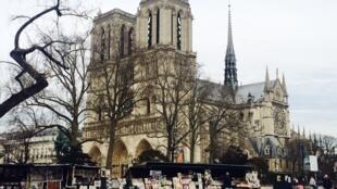 Các hiệu sách cũ dọc bờ sông Seine, gần nhà thờ Đức Bà Paris.