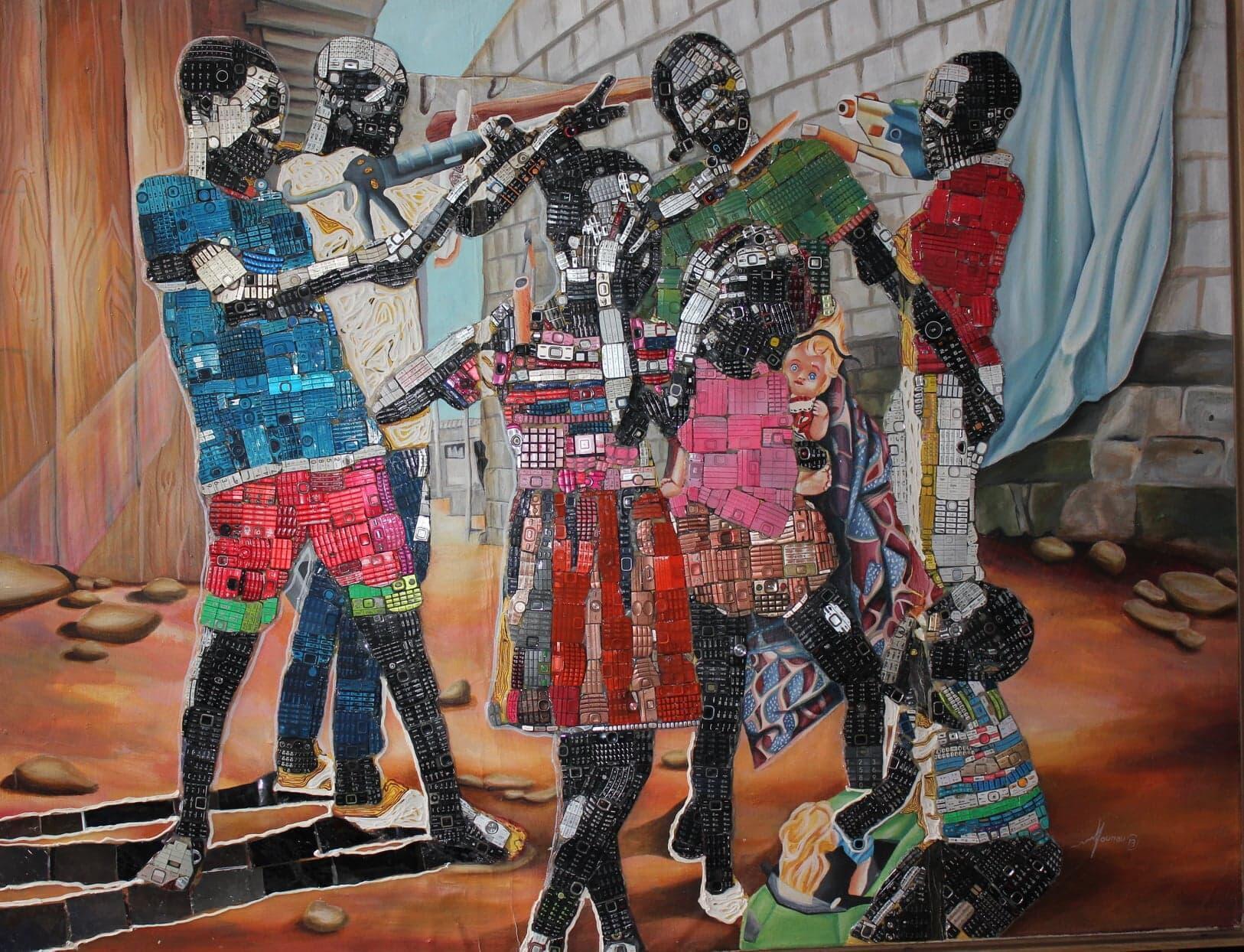 «Enfants soldats», une oeuvre faite à partir de déchets électroniques.