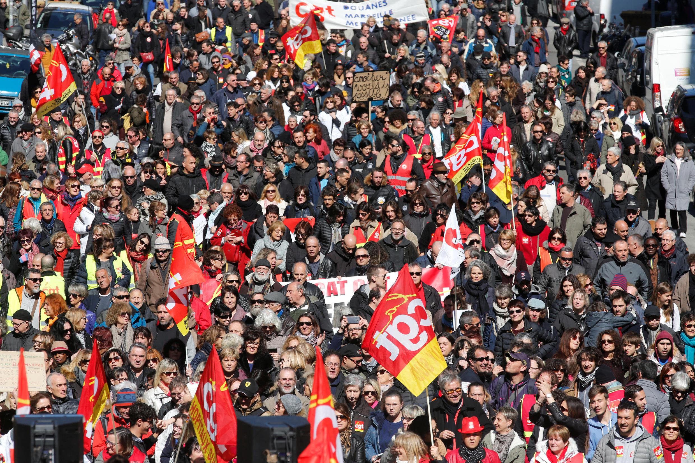 Manifestação em Marselha, em 22 de março de 2018.