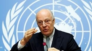 Mediador da ONU para a Síria, Staffan de Mistura, durante uma coletiva de imprensa em Genebra, em 25/01/16.