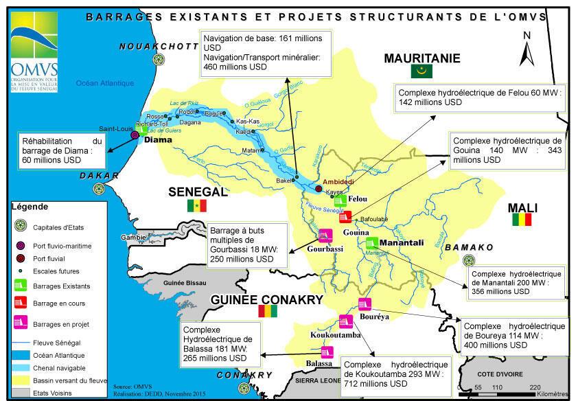 Les barrages existants et les futurs projets de l'Organisation pour la mise en valeur du fleuve Sénégal (OMVS).