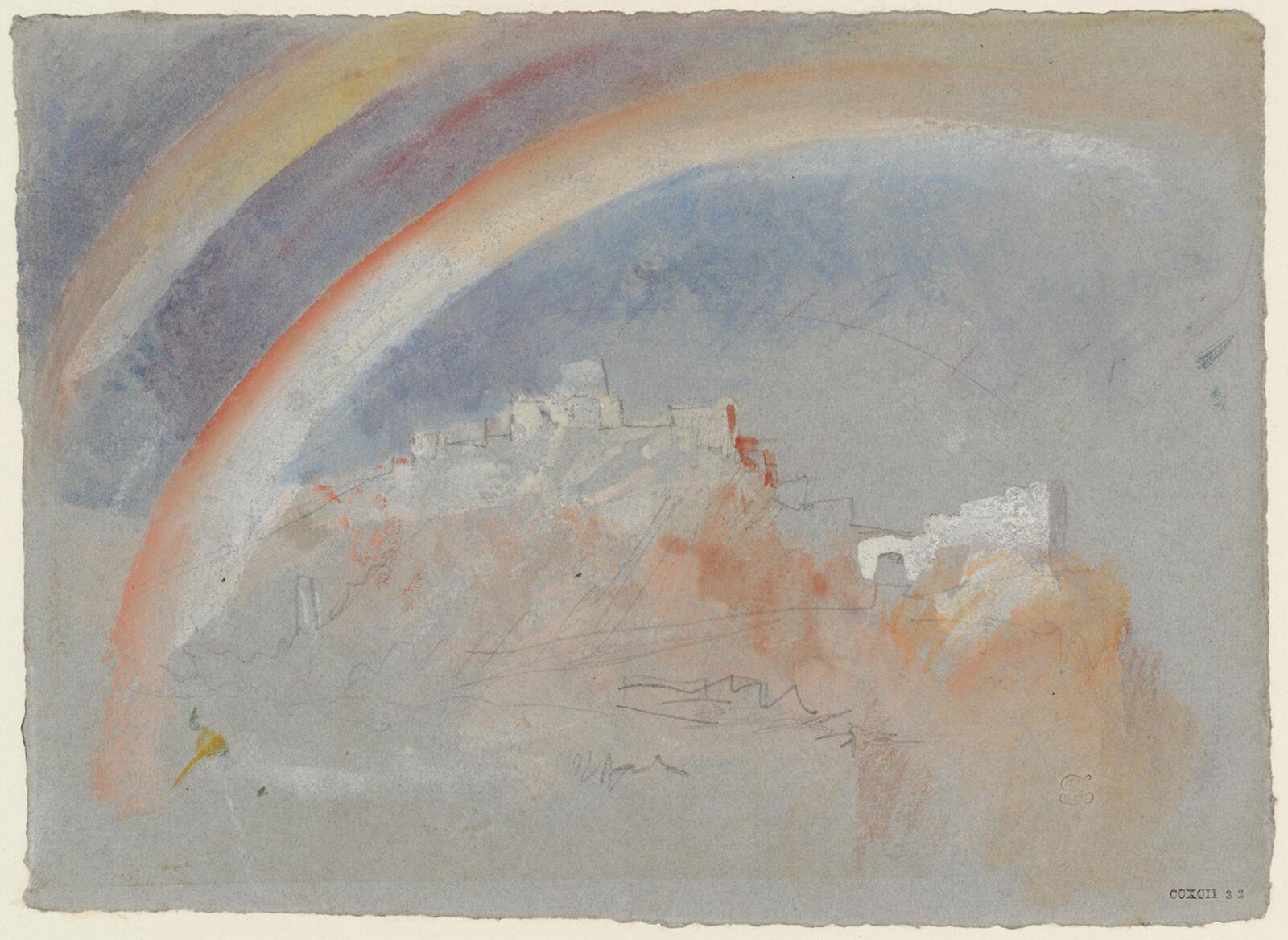 Радуга над Эренбрайтштайном. Уильям Тернер. Графитовый карандаш, акварель, гуашь, бумага. 1840.
