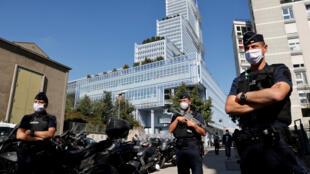 Le tribunal de Paris, le 2 septembre 2020, pour l'ouverture du procès des attentats de 2015 en France.