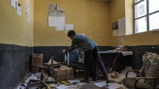 An office at Ksanet Junior Secondary School in Wukro, north of Mekele on 1 March 2021, allegedly looted by Eritrean forces.