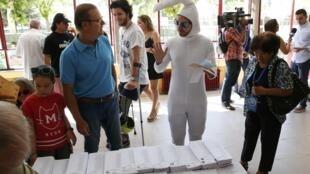 图为马德里一家投票站接待投票选民