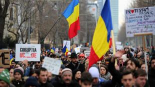 Манифестация протеста в Бухаресте, 4 февраля 2017.