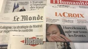 Primeiras páginas dos jornais franceses 23/10/2017