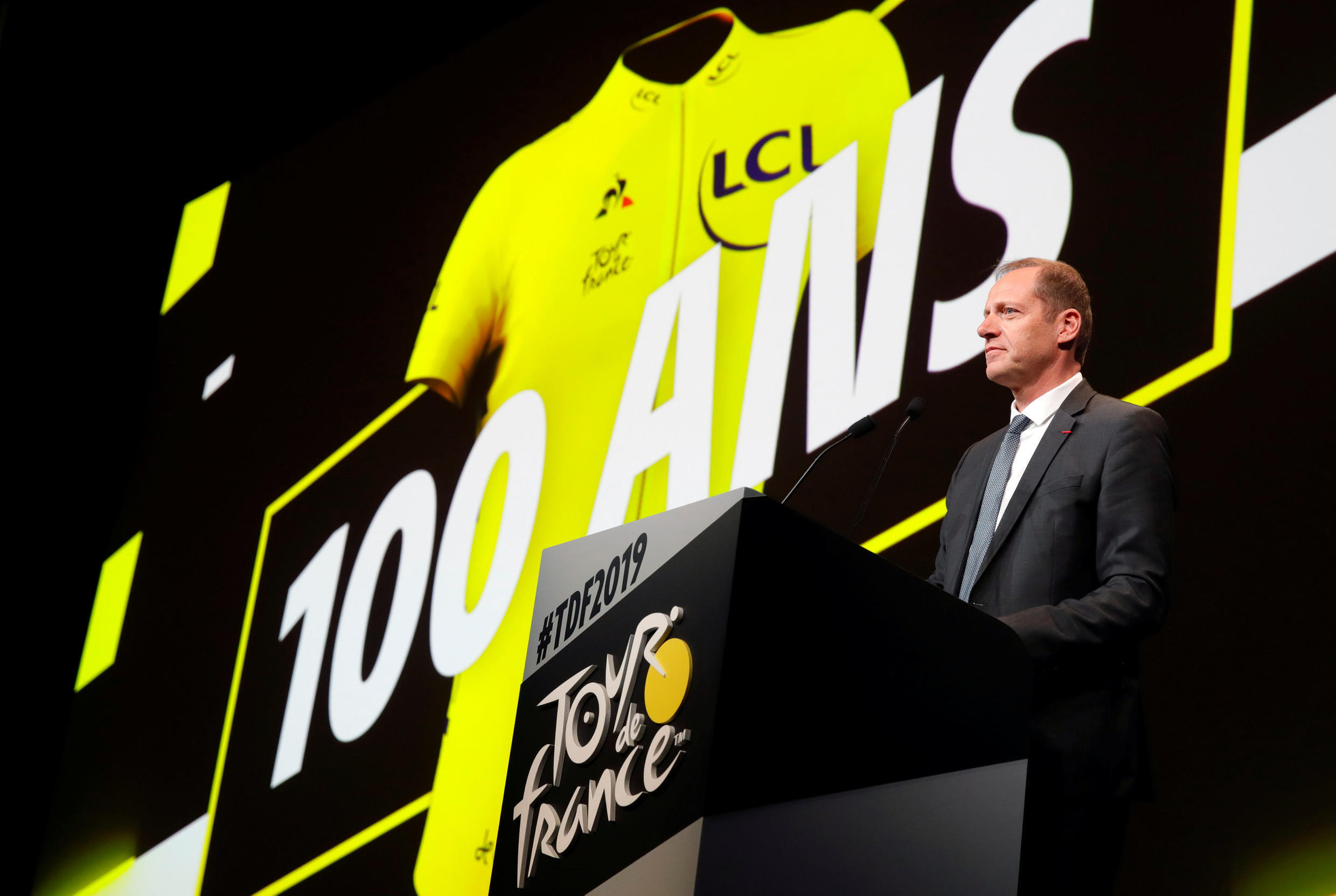 Tour de France director Christian Prudhomme speaks during a news conference to unveil the itinerary of the 2019 Tour de France race.
