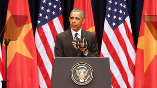 Tổng thống Mỹ Barack Obama phát biểu ở Trung Tâm Hội Nghị Quốc Gia, tại Hà Nội, ngày 24/05/2016.