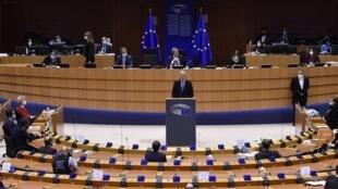 Michel Barnier, le négociateur en chef de l'UE sur le Brexit, au Parlement européen à Bruxelles, le 27 avril 2021.