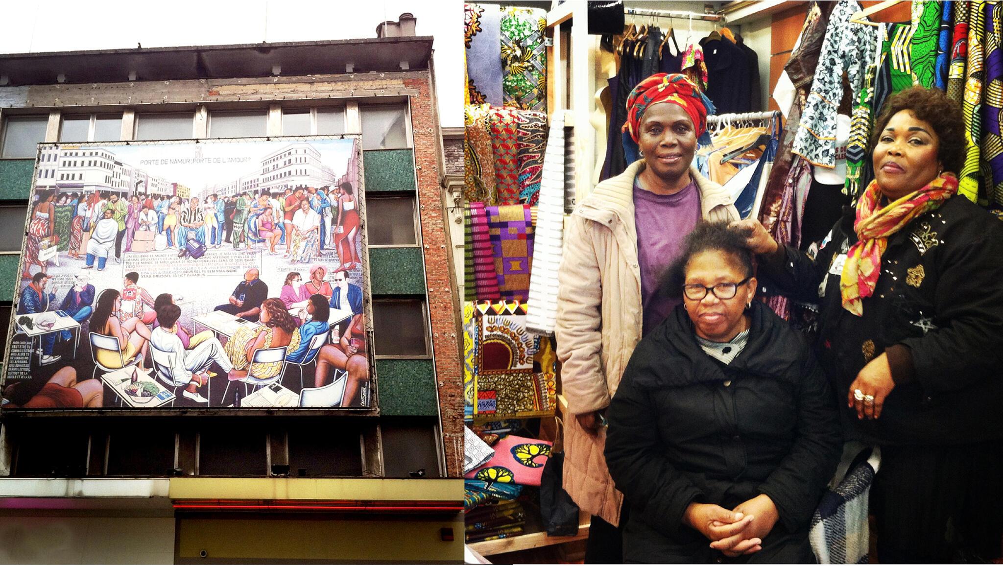 Sur la photo, on voit la fresque de Chéri Samba à la porte de Namur (Matonge) et les pagneuses de chez Maman Tsala, chaussée de Wavre (Matonge).