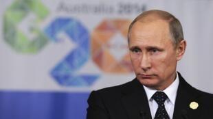 Vladimir Poutine lors de la fin du G20 à Brisbane, le 16 novembre 2014.