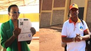 Mwanasiasa wa upinzani Victoire Ingabire Umuhoza na mwanamuzi Kizito Mihigo baada ya kuachiliwa huru katika gereza la Nyarugenge nchini Rwanda