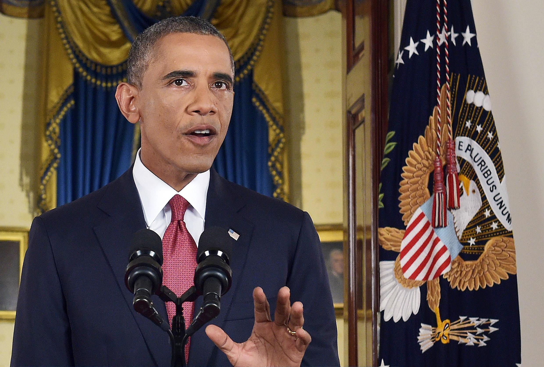 Tổng thống Mỹ Barack Obama đọc diễn văn công bố chiến lược quân sự chống Nhà nước Hồi giáo tại Tòa Bạch ốc, Washington ngày 10/09/2014.