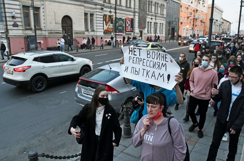 Акция в поддержку Алексея Навального во Владивостоке, 21 апреля 2021.