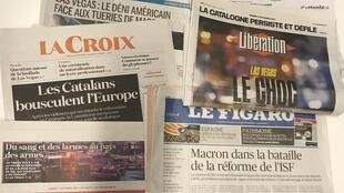 Primeiras páginas dos jornais franceses 03/10/2017