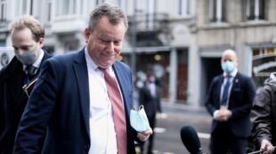 El negociador en jefe del Brexit de Gran Bretaña, David Frost, llega para una reunión con el jefe del Grupo de Trabajo para las Relaciones con Gran Bretaña de la Comisión Europea en Bruselas, el 16 de noviembre de 2020.