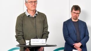 L'épidémiologiste Anders Tegnell, en charge de la coordination de la lutte contre le coronavirus en Suède, lors de son point presse du 3 juin 2020.