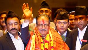 Pushpa Kamal Dahal, le Premier ministre nouvellement élu du Népal, le 3 août à Katmandou, la capitale.