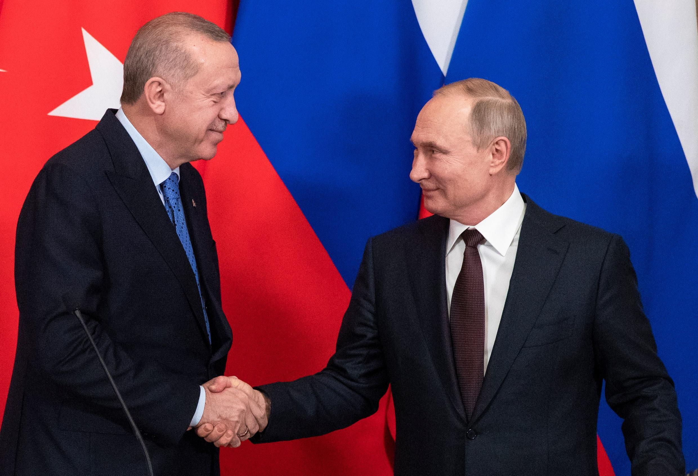 ولادیمیر پوتین و رجب طیب اردوغان، روسای جمهوری روسیه و ترکیه ـ مسکو، ۵ مارس ٢٠٢٠