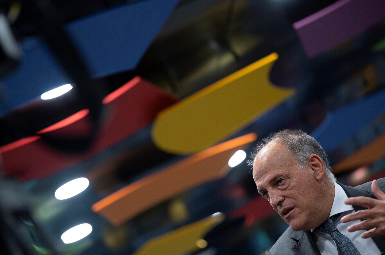 Javier Tebas, presidente de LaLiga, durante una entrevista con la AFP el 21 de octubre de 2020 en Madrid