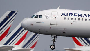An Air France Airbus A321 lands at paris Charles de Gaulle airport