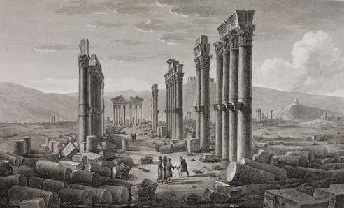 La ville de Palmyre en 1799 représentée par Louis-François Cassas dans son Voyage pittoresque de la Syrie 1799.