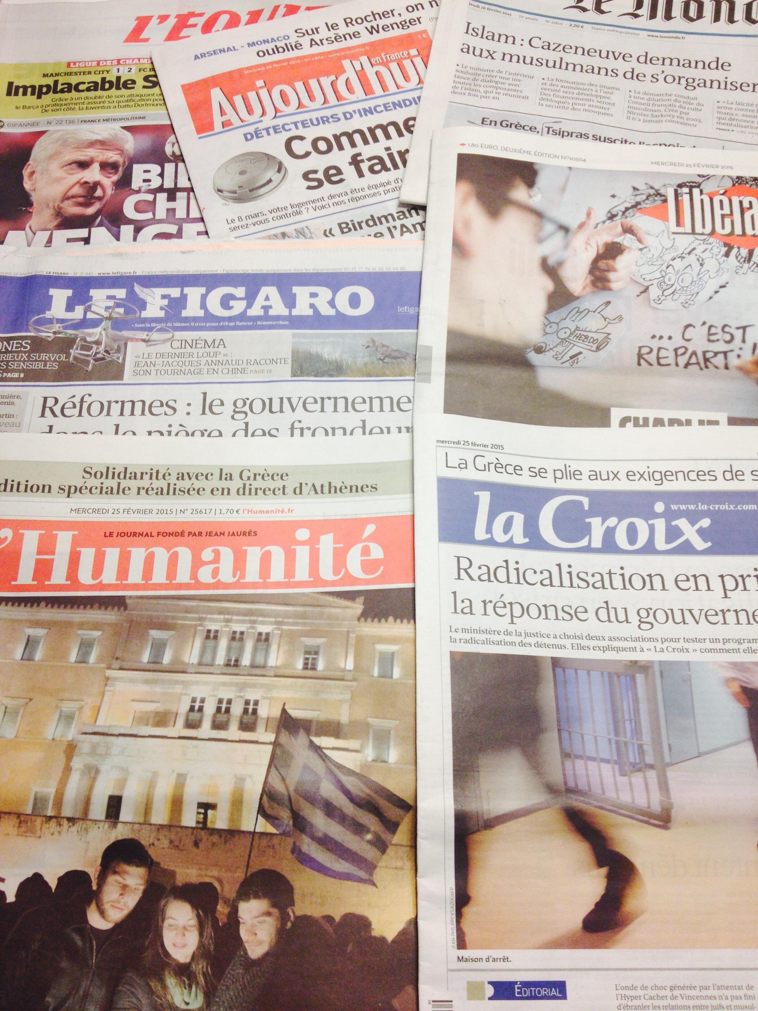 Primeiras páginas dos diários franceses de 25/02/2014