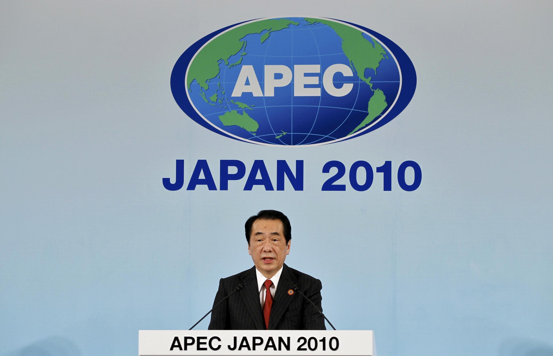 Thủ tướng Nhật Bản Naoto Kan trong cuộc họp báo bế mạc APEC, ngày 14/11/2010, tại Yokohama