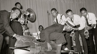 Un orchestre lors du Festival national de riz à Crowley, en Louisiane, en 1938.