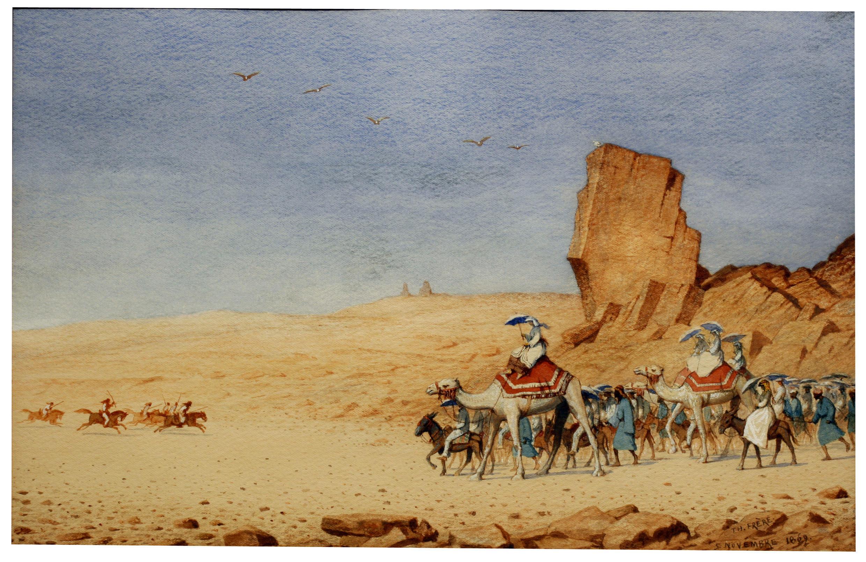 Paseo a camello de la emperatriz Eugenia, durante su estancia en Egipto, 1969. Pintura de Théodore Frère.