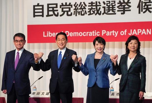 日本自民黨總裁四位候選人資料圖片