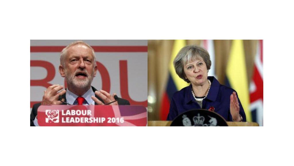 Jeremy Corbyn et Theresa May.