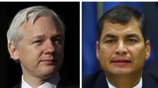 Julian Assange et le président équatorien Rafael Correa.