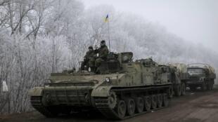 Украинские военные под Дебальцево, 15 февраля 2015 г.