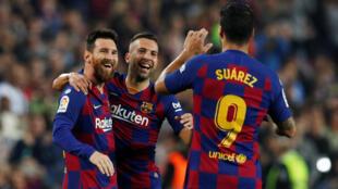 Lionel Messi et ses coéquipiers (FC Barcelone) enthousiastes après le 3ème but contre Valladolid, le 29 octobre 2019.