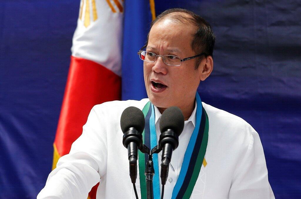 Tổng thống Philippines Benigno Aquino nhân một buỗi lễ trao vũ khí tại tổng hành dinh quân đội ở thành phố Quezon, vùng Manila. Ảnh chụp ngày  14/08/ 2014.
