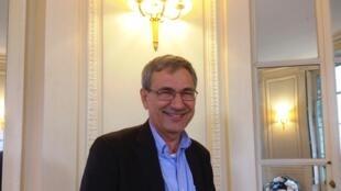 L'écrivain turc Orhan Pamuk chez son éditeur français Gallimard (septembre 2017).