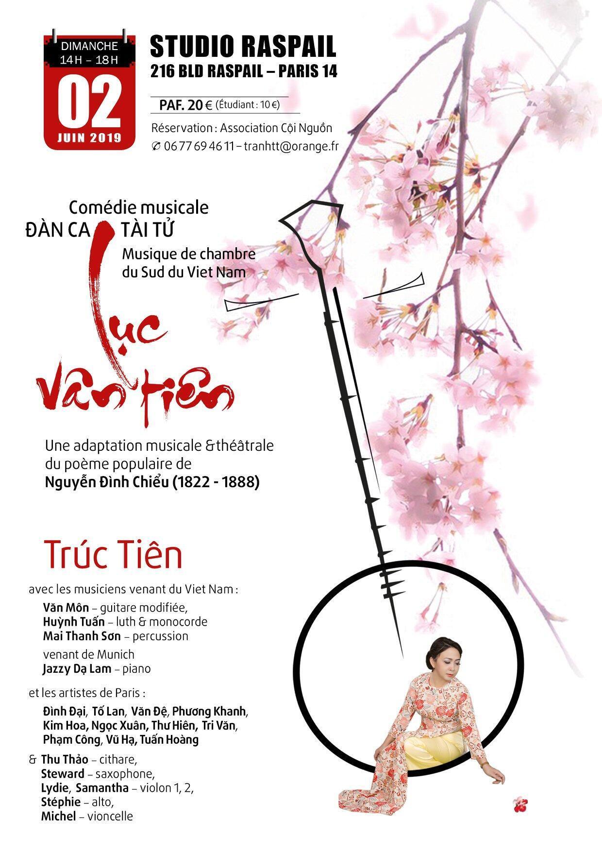 Affiche vở Nhạc kịch Đàn Ca Tài Tử Lục Vân Tiên tại Paris 02/06/2019.