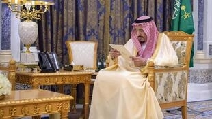 A picture provided by the Saudi Royal Palace on March 8, 2020 shows King Salman bin Abdulaziz at the Royal Palace in the capital Riyadh Saud