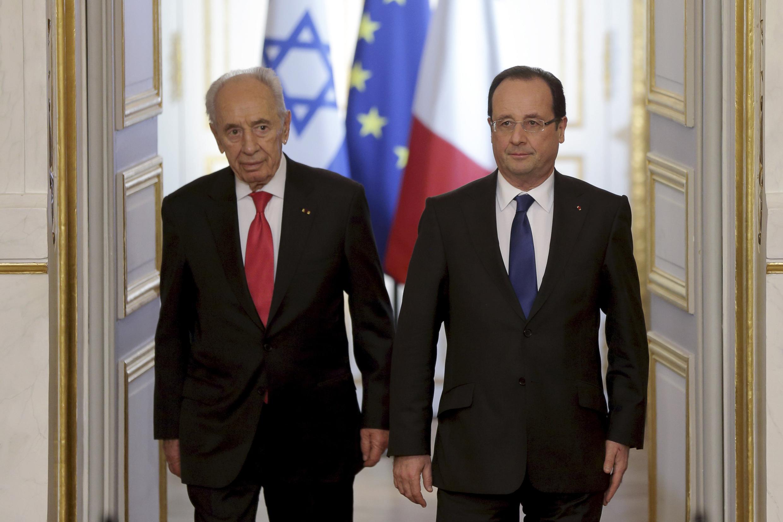 Президент Израиля Шимон Перес и президент Франции Франсуа Олланд, Париж 8 марта 2013