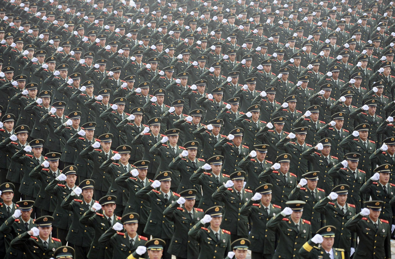 Parade militaire, à Nankin, en Chine.