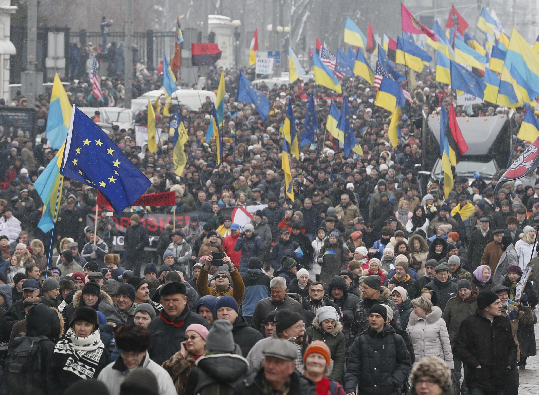 Сторонники Михаила Саакашвили вышли на акцию в Киеве требовать отставки президента Петра Порошенко